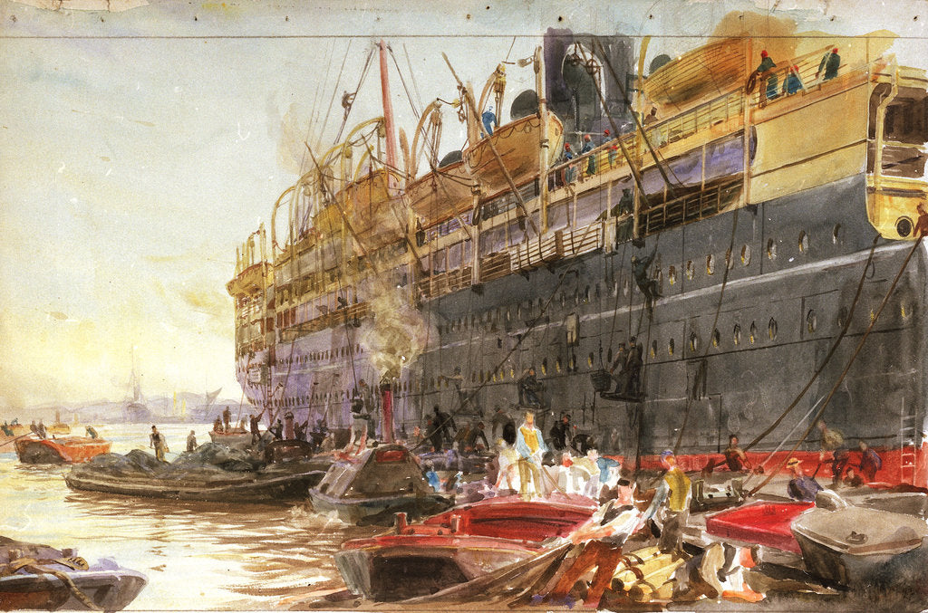 Detail of P&O liner coaling prior to embarkation, probably the 'Mongolia' (1922) by William Lionel Wyllie