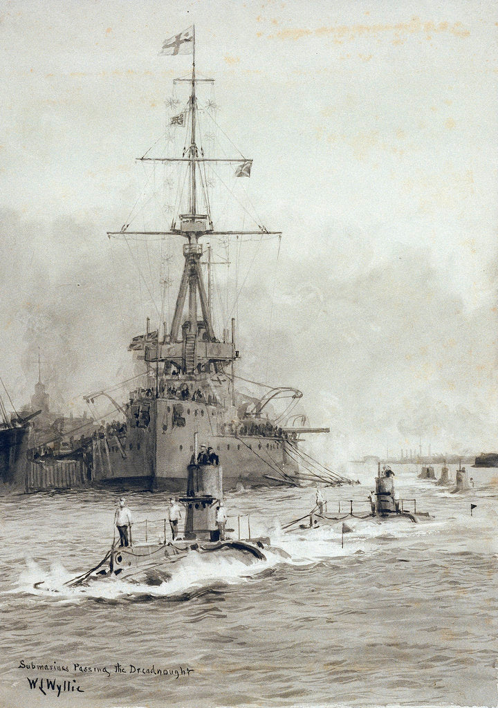 Detail of Submarines passing Dreadnought by William Lionel Wyllie