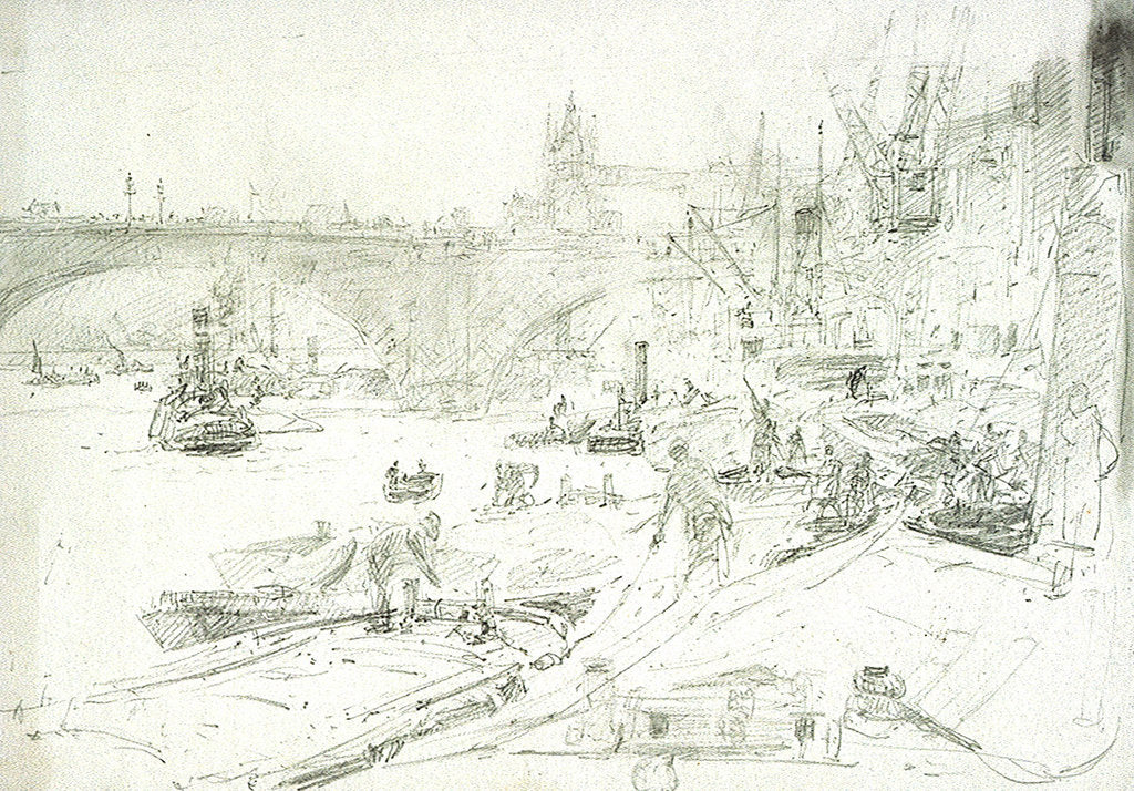 Detail of London Bridge by William Lionel Wyllie