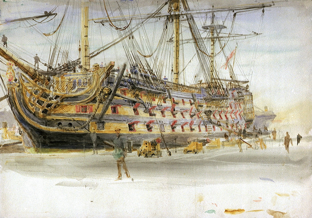 Detail of HMS Victory During Her Restoration by William Lionel Wyllie