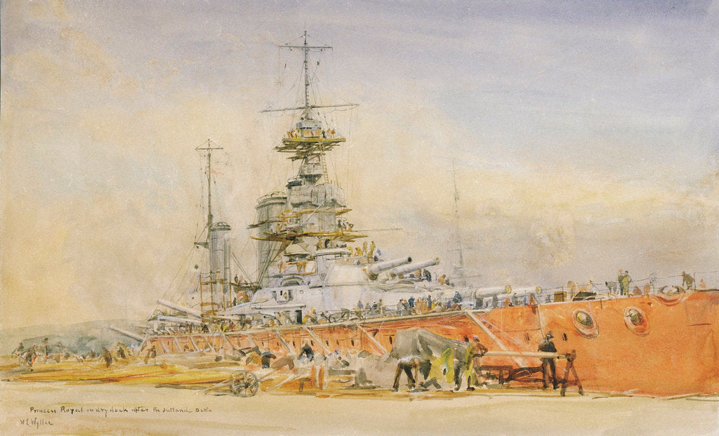 Detail of 'Princess Royal' in dry dock at Portsmouth after the Battle of Jutland, 1916 by William Lionel Wyllie