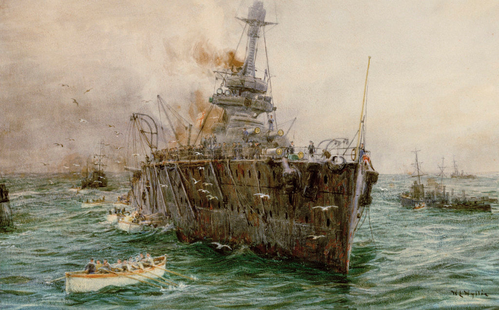 Detail of HMS 'Audacious' sinking off Loch Swilly after striking a mine, 27 October 1914 by William Lionel Wyllie