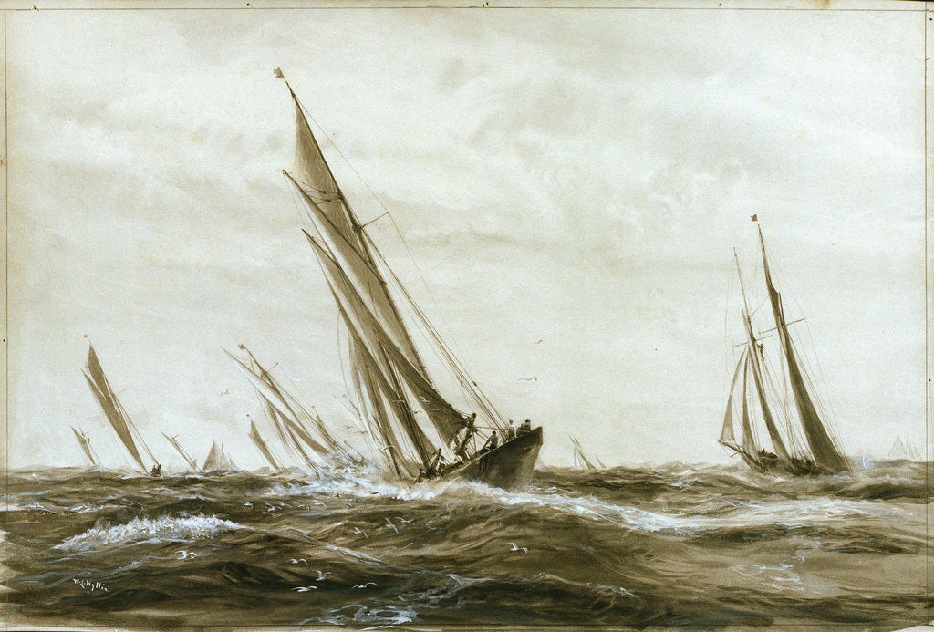 Detail of Yachts racing by William Lionel Wyllie