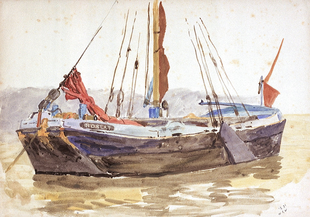 Detail of Thames sailing barge by William Lionel Wyllie