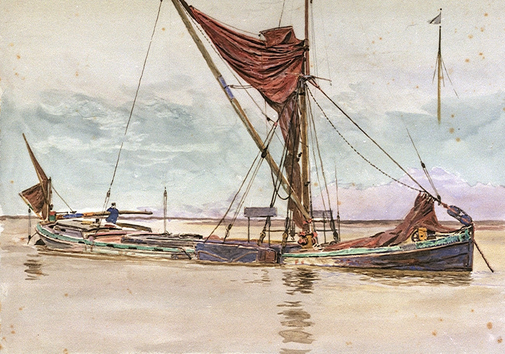 Detail of Thames barge by William Lionel Wyllie