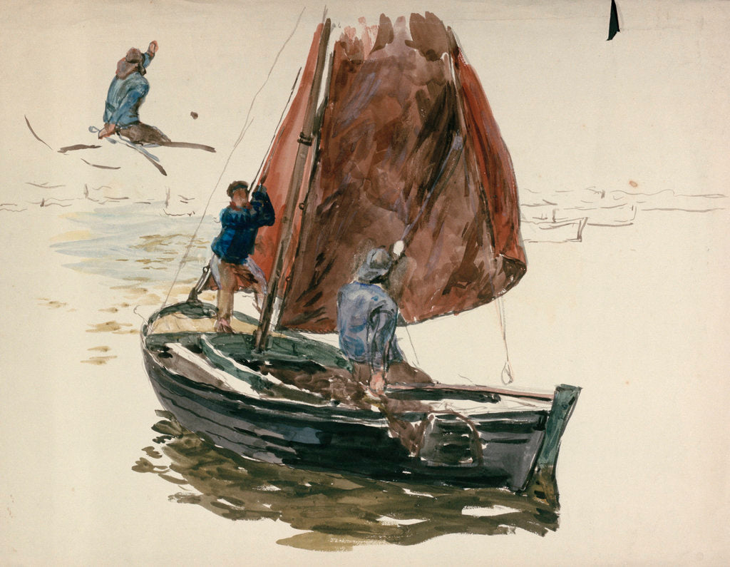 Detail of A man and a boy in a small sailing boat by William Lionel Wyllie