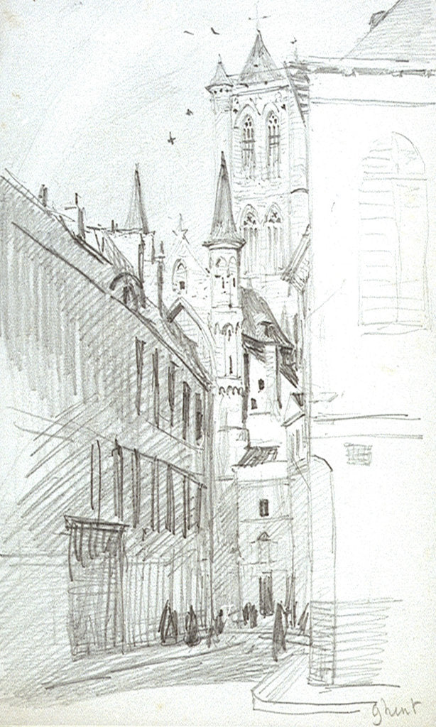 Detail of The St Nicholas Church in Ghent by William Lionel Wyllie