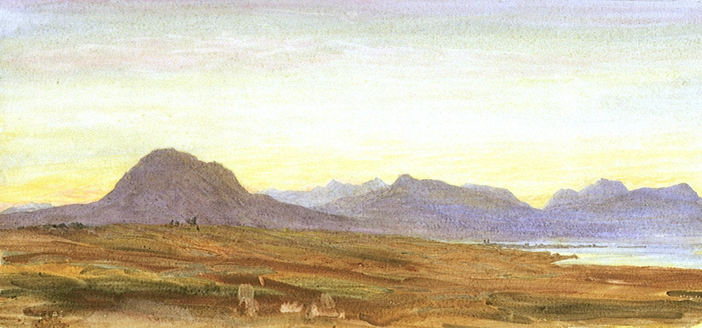 Detail of Sunset, Hills, probably Scotland by William Lionel Wyllie