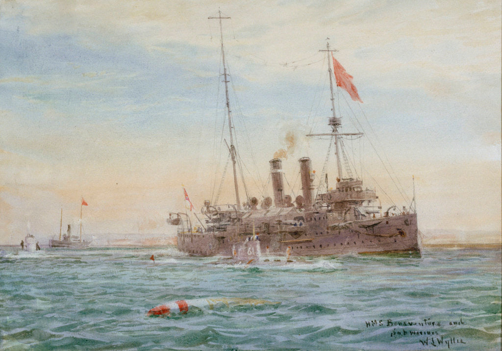 HMS 'Bonaventure' and submarines by William Lionel Wyllie