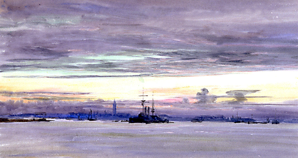 A View of Gosport Seen Across Portsmouth Harbour at Dusk by William Lionel Wyllie