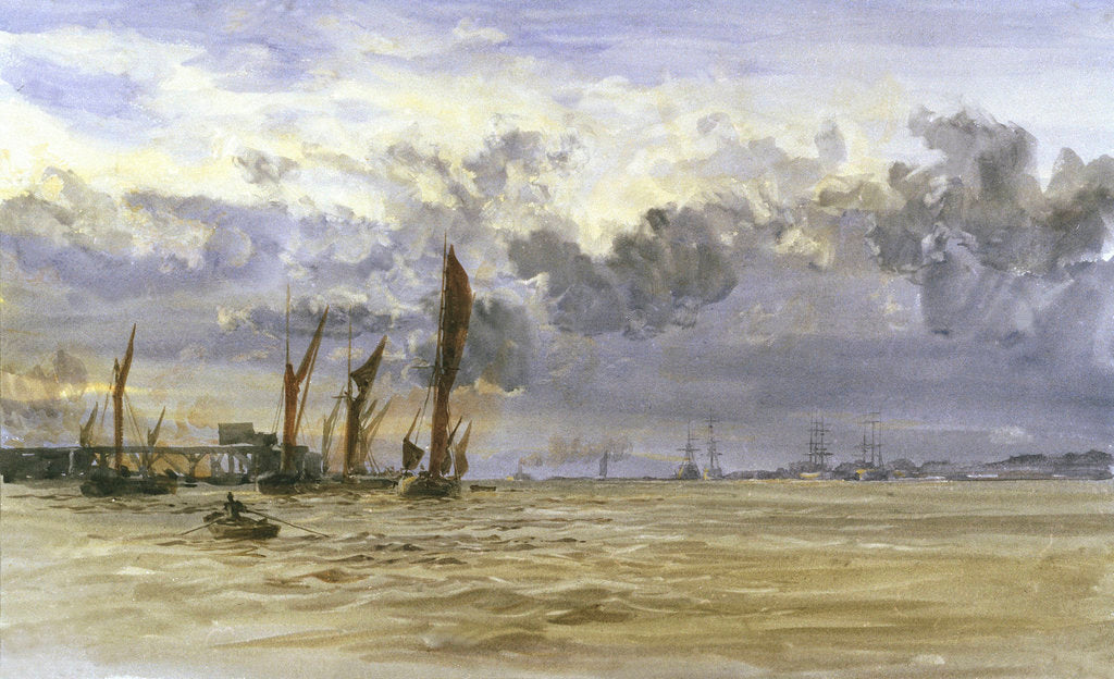 Detail of Thames barges in the Medway by William Lionel Wyllie
