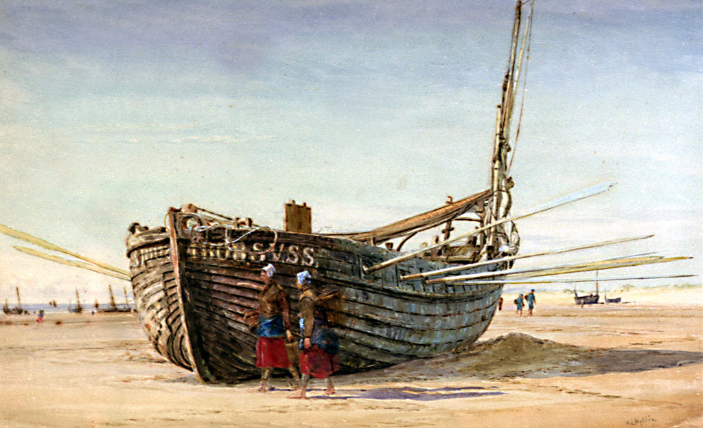 Detail of A Fishing Boat from St Valery-sur-Somme at Berck-sur-Mer by William Lionel Wyllie