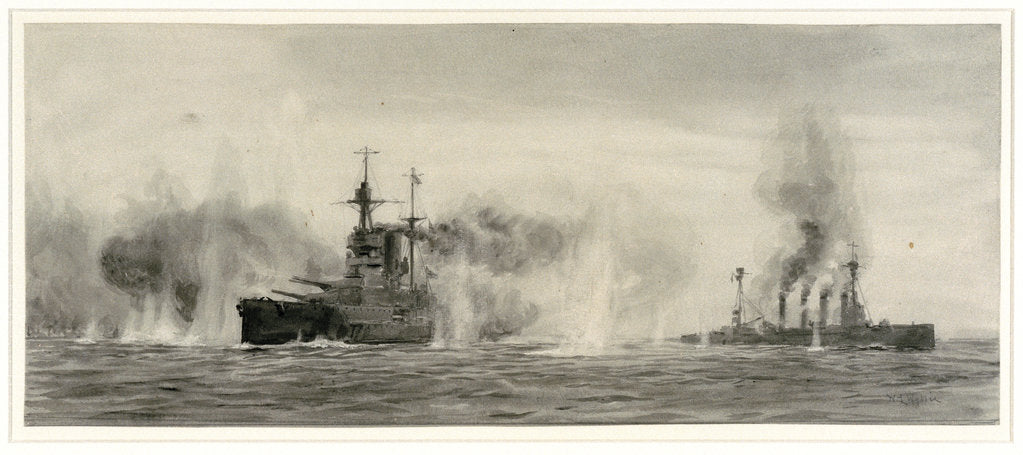 Detail of HMS 'Warrior' and 'Warspite' at the Battle of Jutland, 31 May 1916, about 18.25 by William Lionel Wyllie