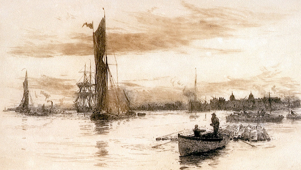 Detail of Greenwich with barges and other craft. by William Lionel Wyllie