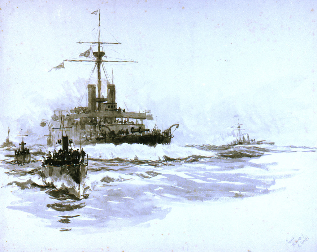 Detail of HMS 'Victoria' (1887), just prior to her loss [formerly misidentified as the 'Calliope'] by William Lionel Wyllie
