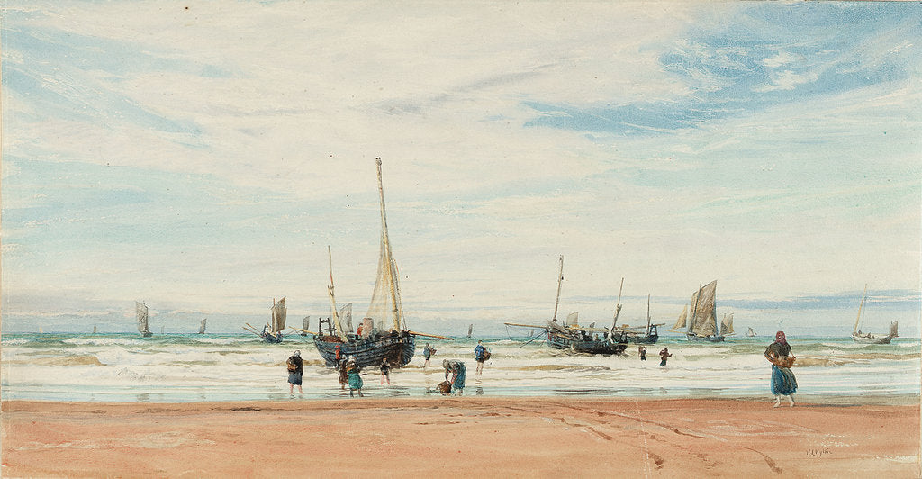 Detail of Fishing boats near a beach by William Lionel Wyllie