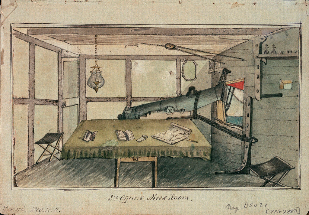 Detail of Study of accommodation in a vessel by Charles Copland