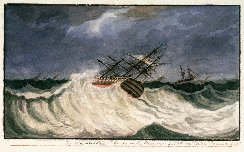 Detail of HMS 'St George' in the hurricane of 1805 by Edward Bamfylde Eagles
