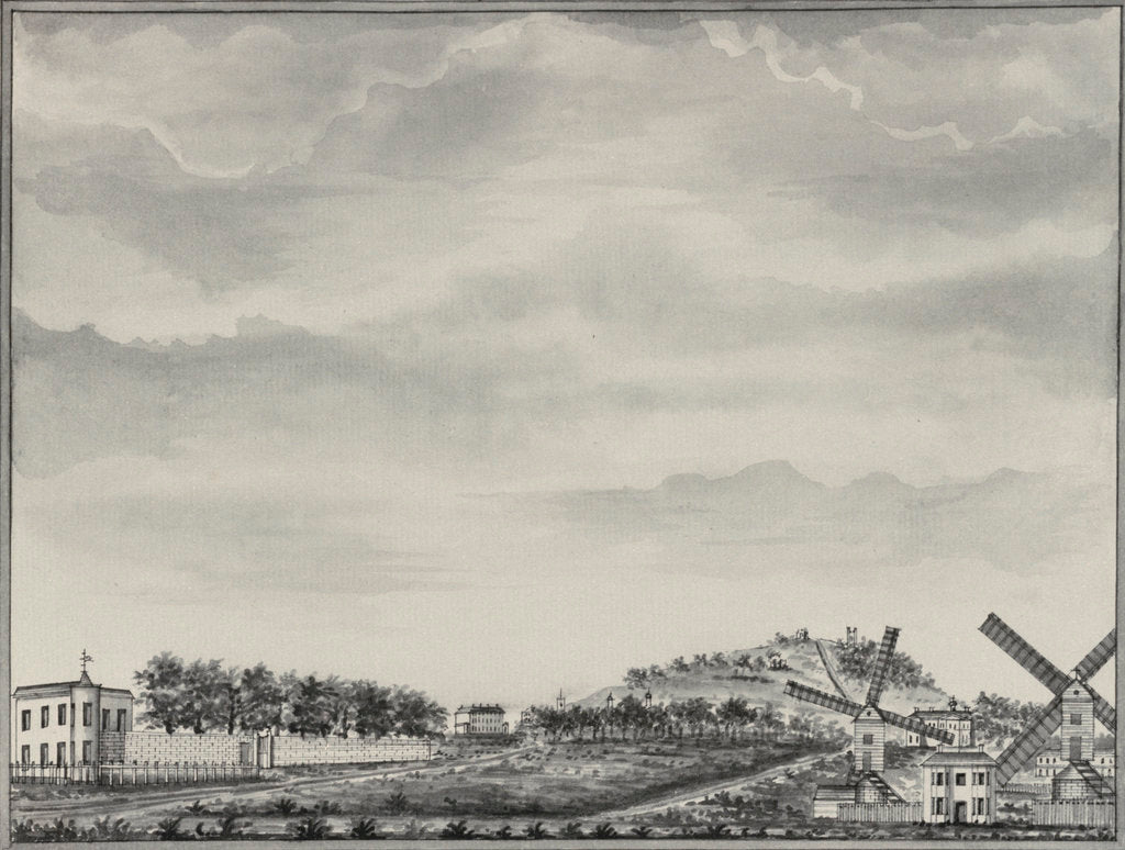 Detail of A view of Blackheath, depicting Montague House, Shooter's Hill and Morden College, with windmills in the foreground by John Charnock