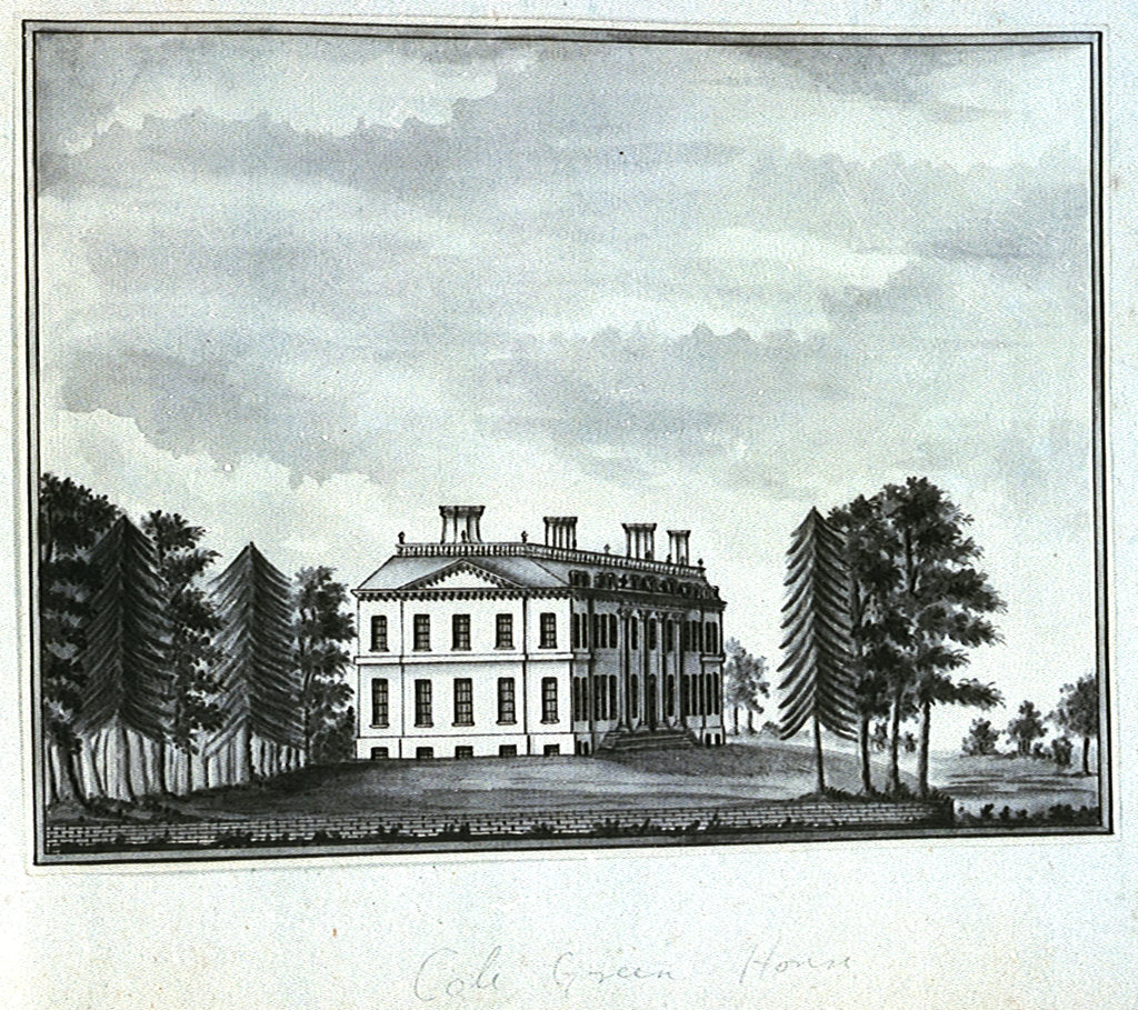 Detail of View of Cole Green House, seen from the south east by John Charnock