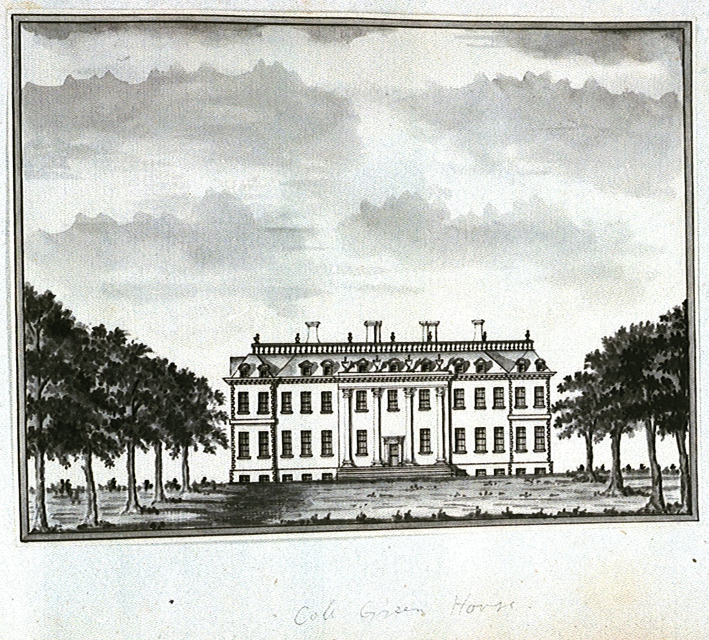 Detail of View of Cole Green House, from the east front by John Charnock