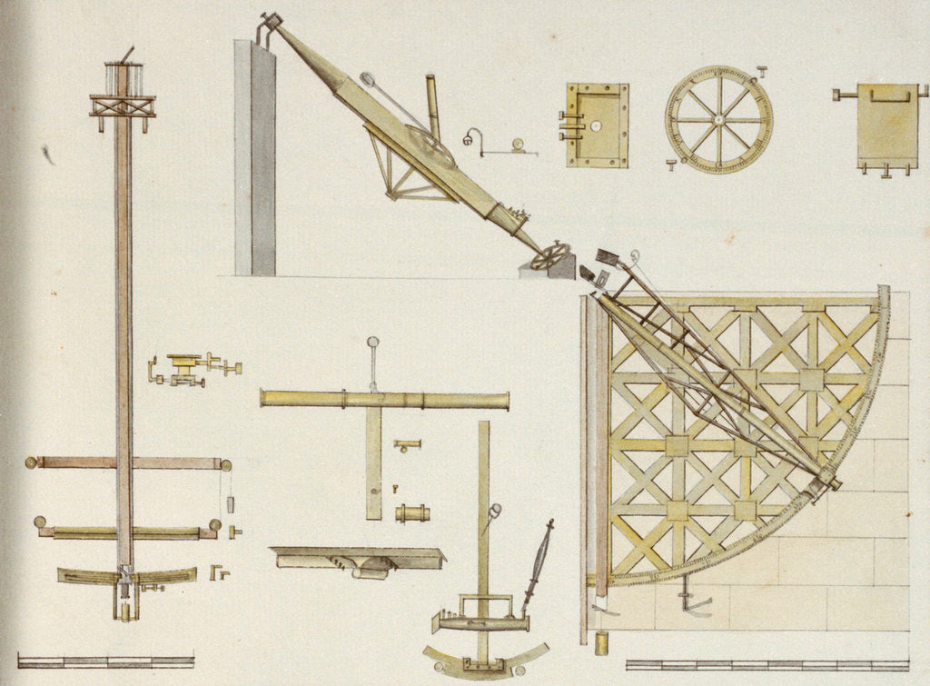 Detail of Astronomical instruments including Bradley's Zenith Sector, Sisson's Equatorial Sector and Bird's eight foot quadrant, with scale by John Charnock