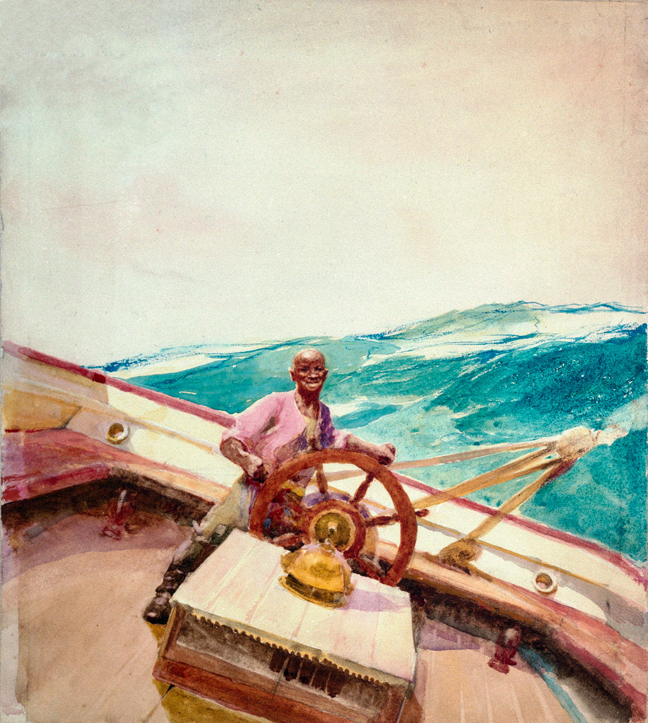 Detail of Negro at the wheel of a sailing vessel by John Fraser
