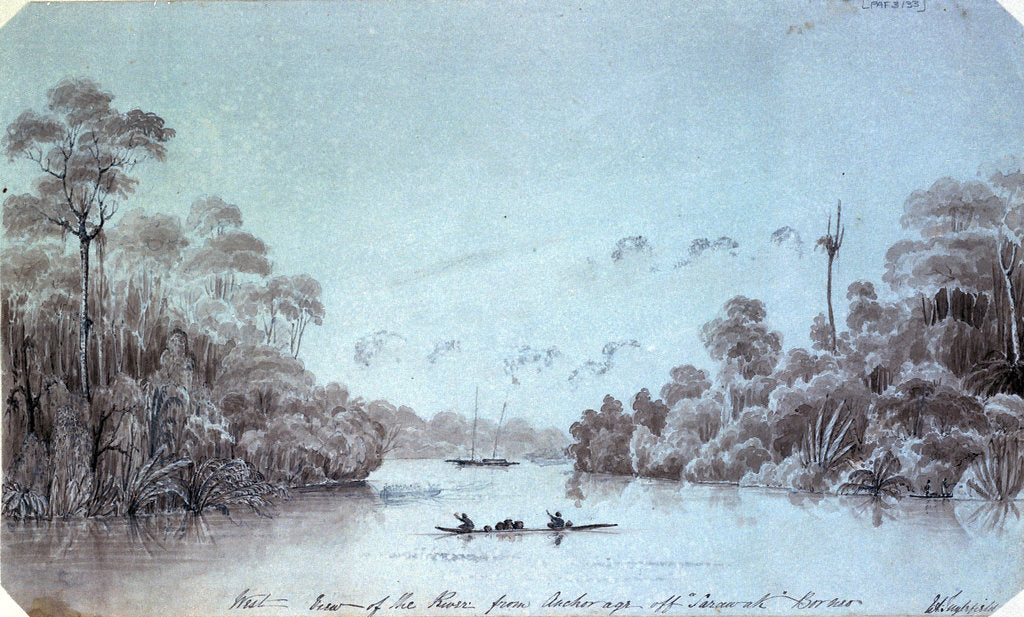 Detail of West view of the river from Anchorage off Sarawak Borneo by Edward Augustus Inglefield