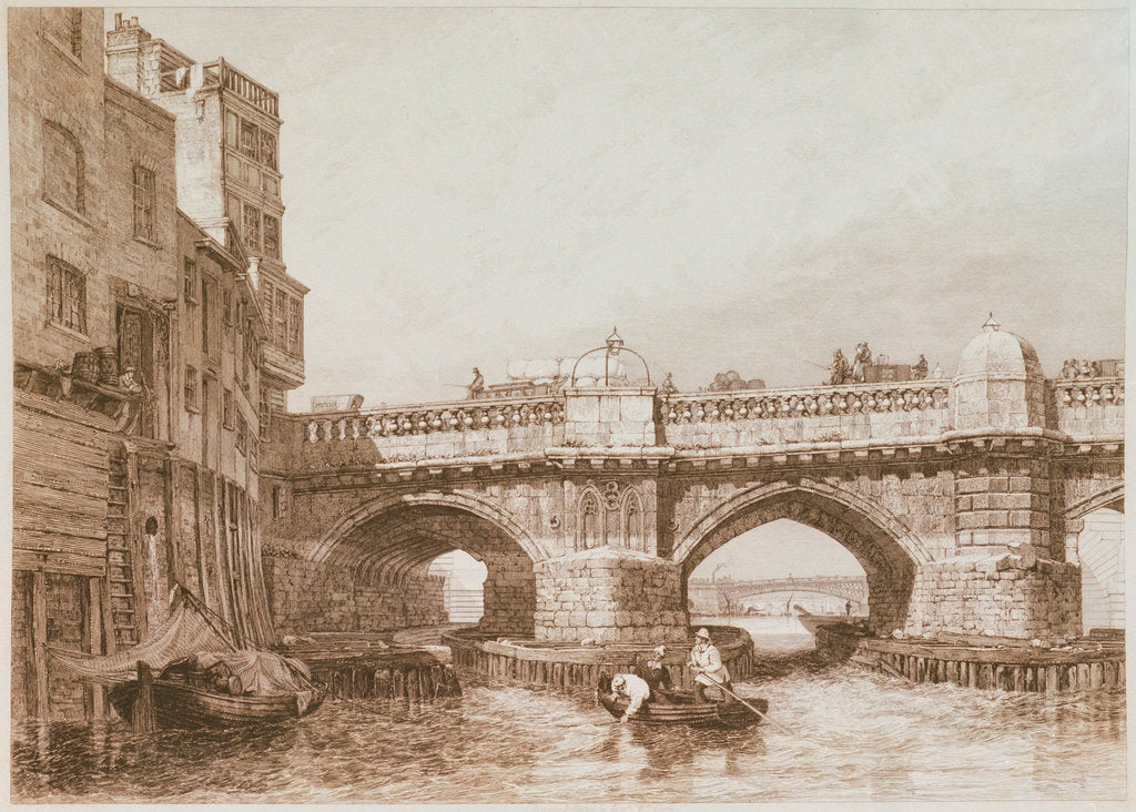 Detail of Old London Bridge, with river craft and warehouses by Edward William Cooke