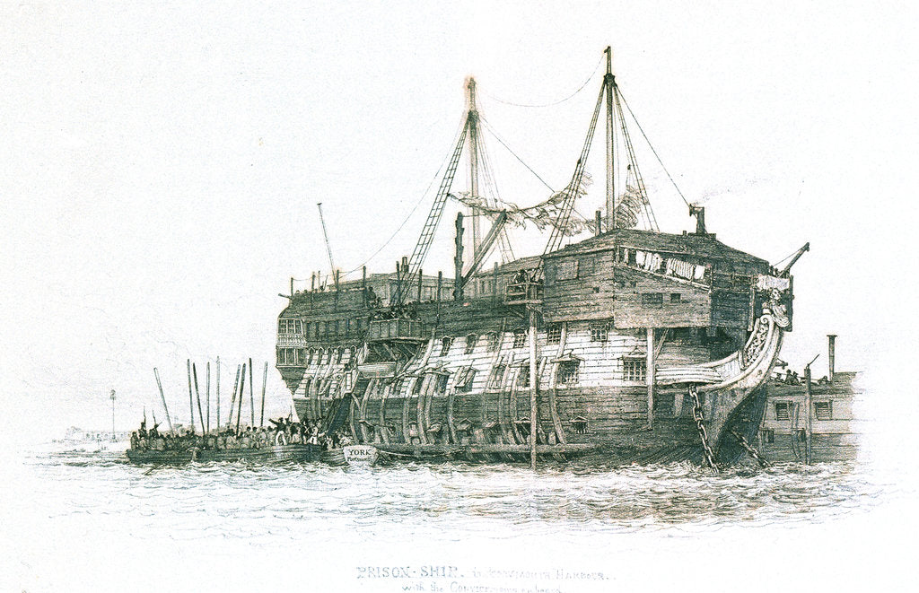 Prison-ship in Portsmouth Harbour with the convicts going on board by Edward William Cooke
