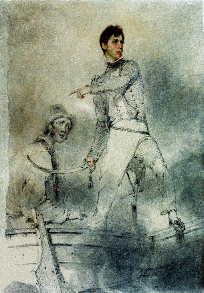 Detail of Captain Fleetwood Pellew commanding HMS 'Terpsichore' by George Chinnery