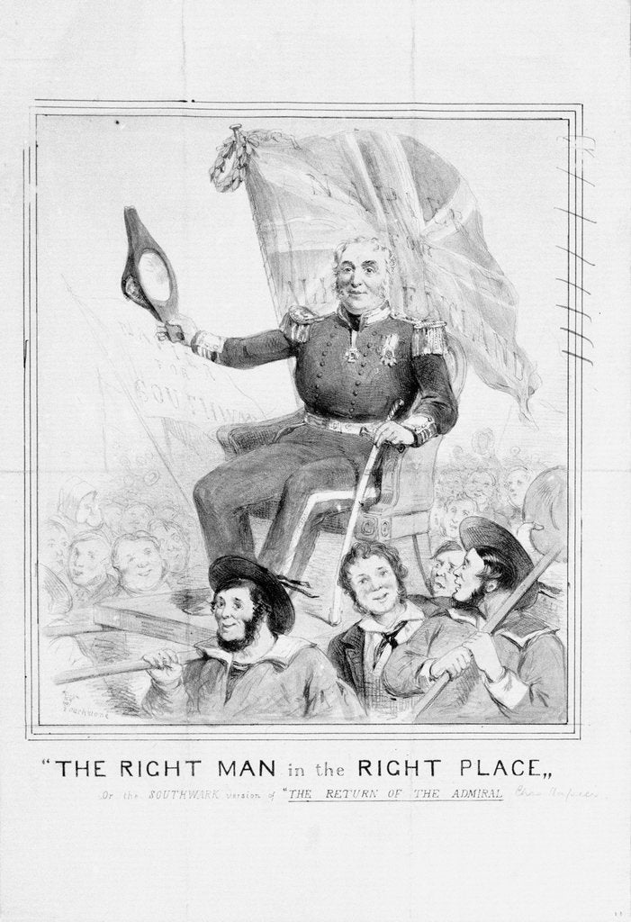 Detail of The Right Man in the Right Place, , or the Southwark version of 'The Return of the Admiral [Charles Napier] by Touchstone