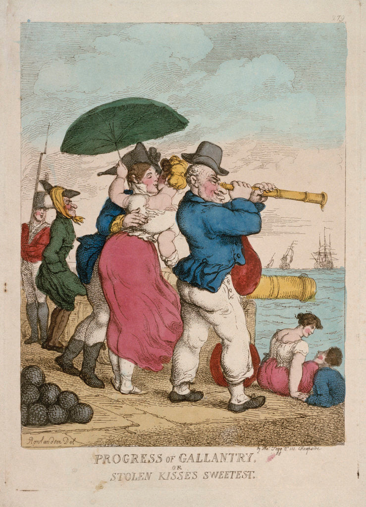 Detail of Progress of Gallantry, or Stolen kisses sweetest by Thomas Rowlandson