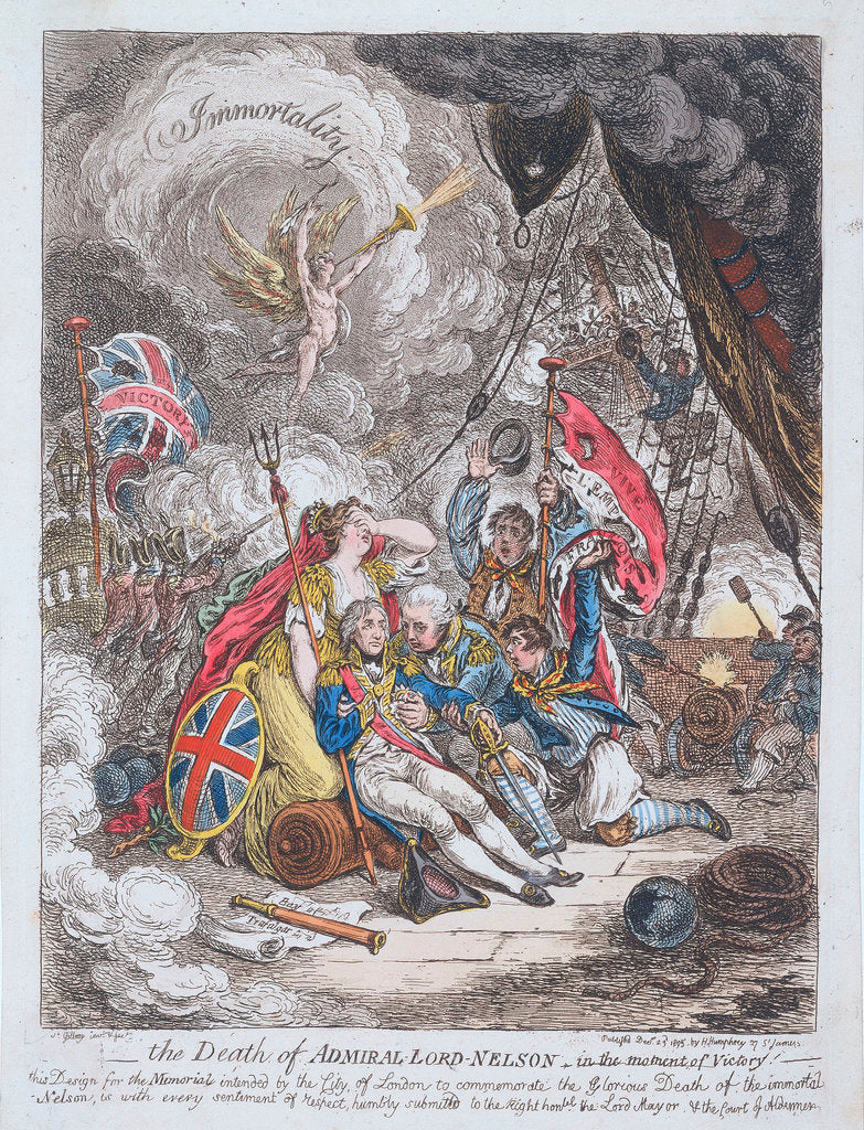 Detail of The Death of Admiral Lord Nelson - in the moment of Victory by James Gillray