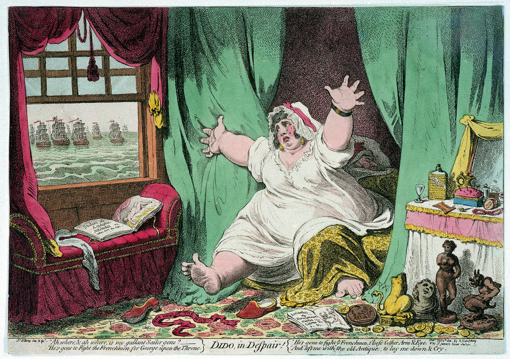 Detail of Dido in despair by James Gillray