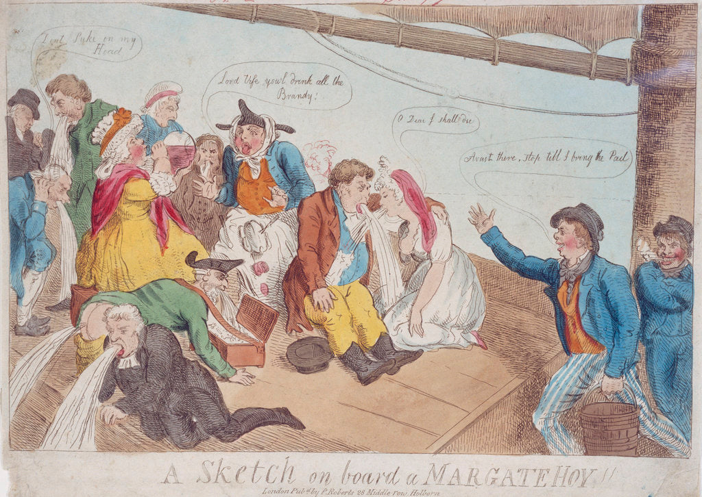 Detail of A sketch on board a Margate Hoy by P. Roberts