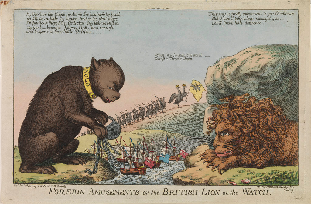 Detail of Foreign Amusements or the British Lion on the Watch (caricature) by S.W. Fores
