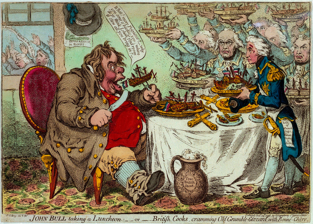 Detail of John Bull taking a Luncheon:  - or - British Cooks, cramming Old Grumble-Gizzard, with Bonne-Chere by James Gillray