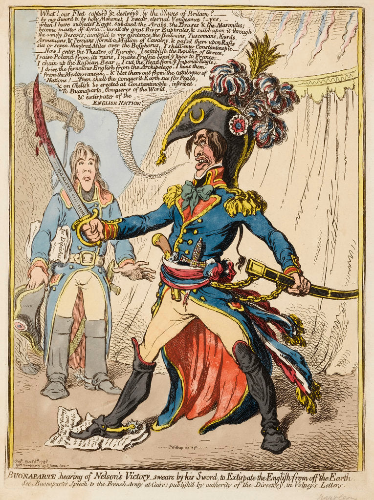 Detail of Buonaparte hearing of Nelson's Victory swears by his Sword to Extirpate the English from off the Earth by James Gillray