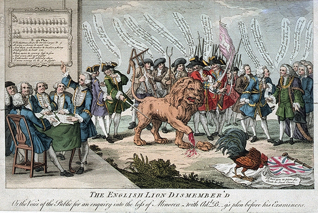 Detail of The English Lion Dismembered or the Voice of the Public for an enquiry into the loss of Minorca with Adl. B--g's plea before his Examiners by unknown