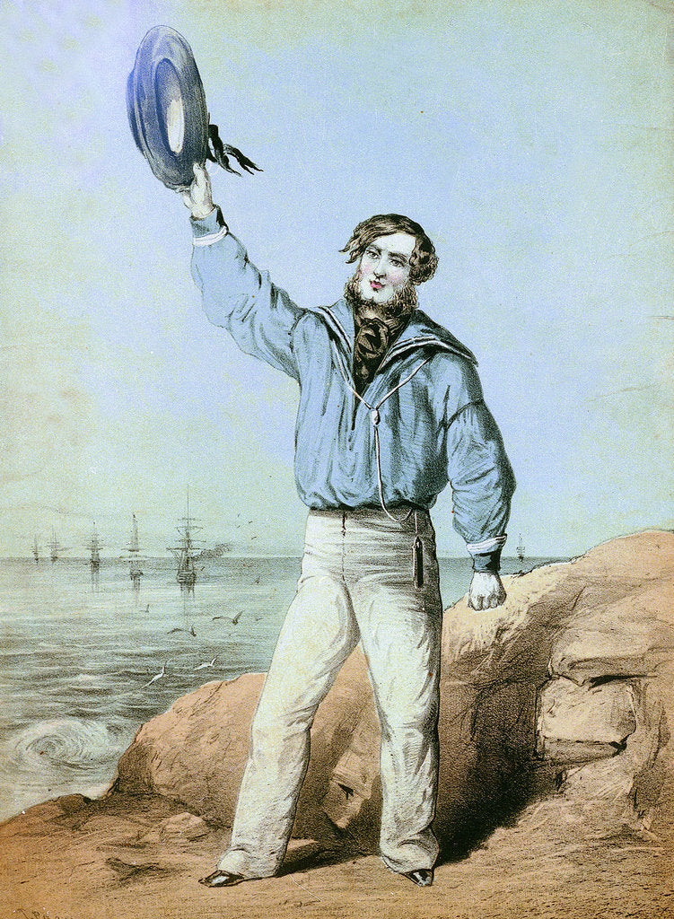 Detail of A sailor hails from shore by unknown