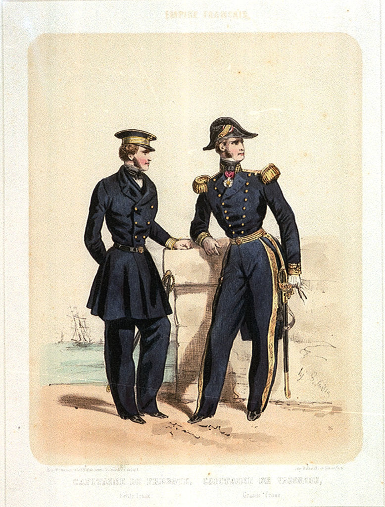 Detail of Empire Francais; Capitaire de Fregate (Petit Tenue), Capitaine de Vaisseau (Grande Tenue) (uniform) by de Villain