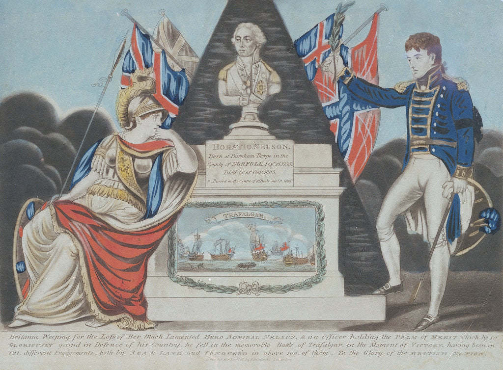 Detail of 'Britannia Weeping for the Loss of Her Much Lamented Hero Admiral Nelson by P. Patriarcha