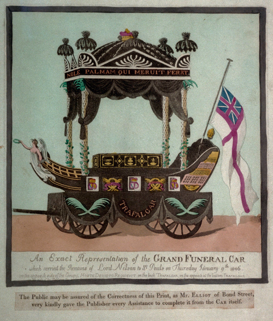 Detail of An Exact Representation of the Grand Funeral Car which carried the Remains of Lord Nelson to St Pauls on Thursday January 9th 1806 by S.W. Fores