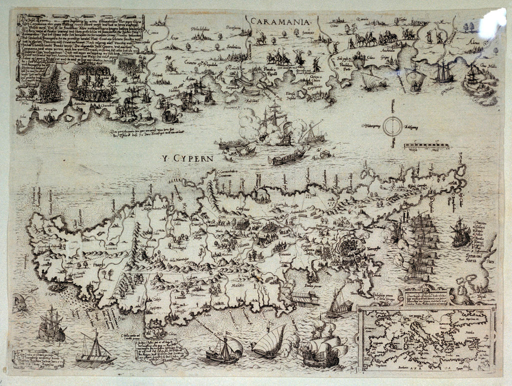 Detail of Disposition of the Turkish and Venetian fleets at Cyprus, 1570 by Matthias Zundt
