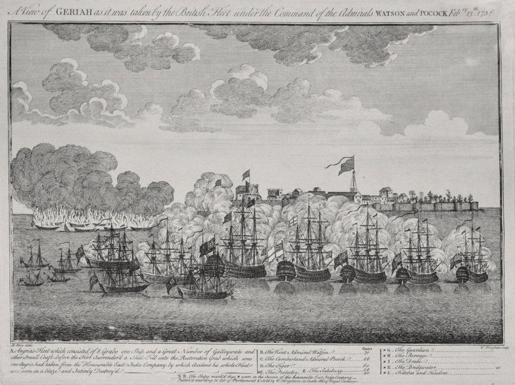 Detail of A view of Geriah as it was taken by the British fleet under the command of the Admirals Watson and Pocock February 13th 1756 by M. Hore