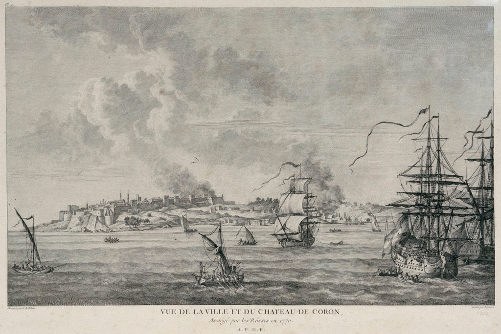 Detail of View of Coron when besieged by the Russians in 1770 by Lienard