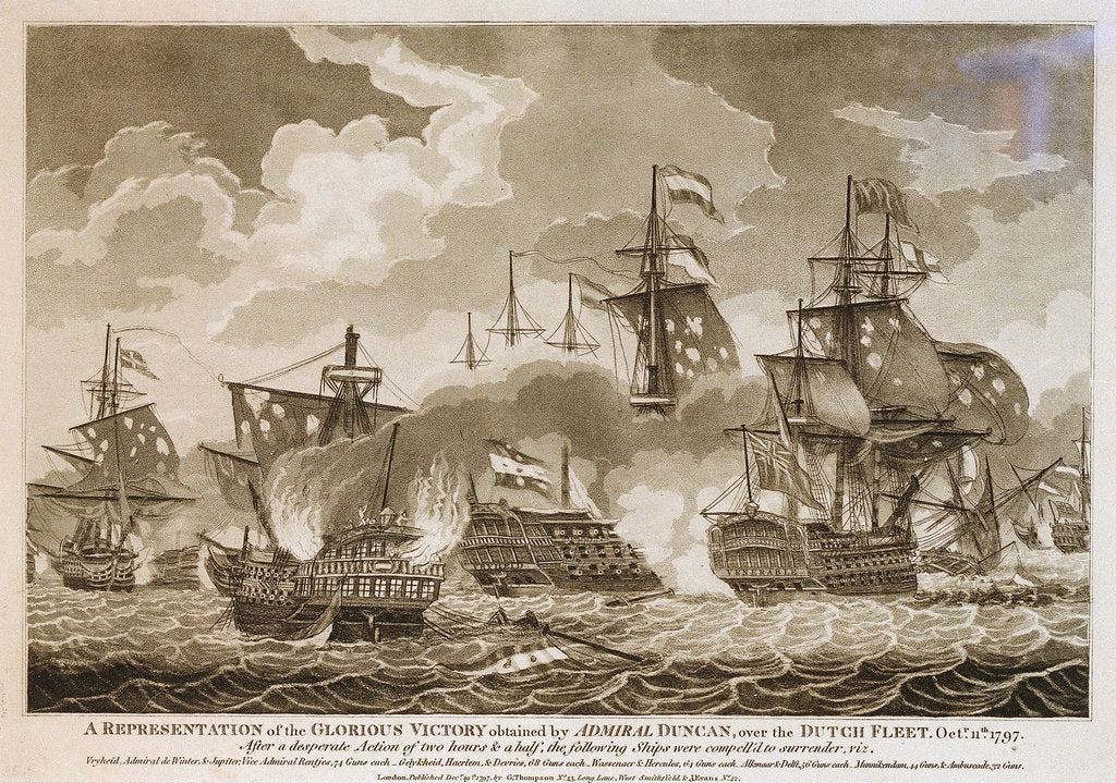 Detail of 'A Representation of the Glorious Victory obtained by Admiral Duncan over the Dutch Fleet, Octr. 11th.1797 by Thompson
