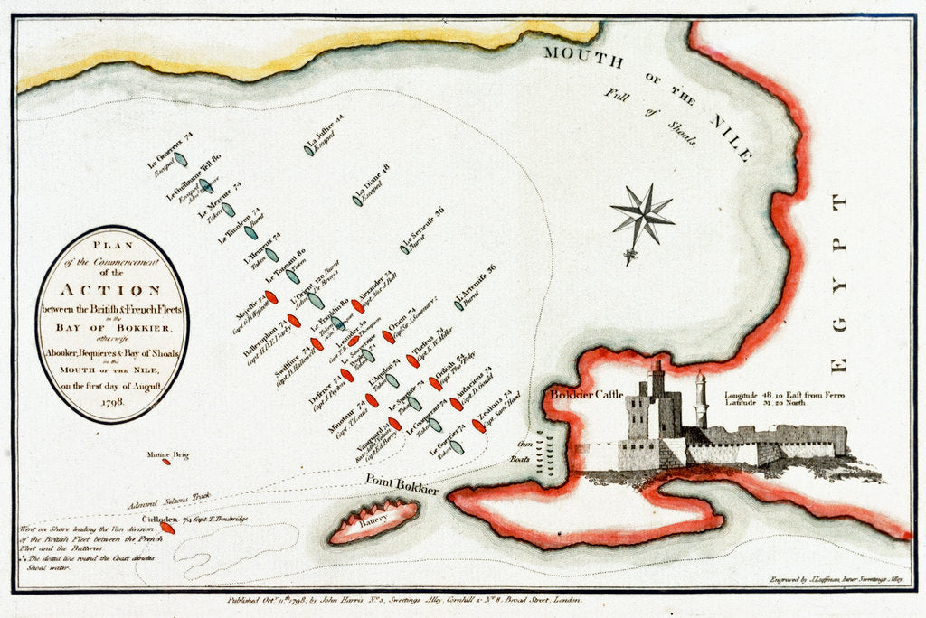 Detail of Plan of the commencement of the action between the British & French fleets in the Bay of Bokkier, otherwise Abouker, Bequieres & Bay of Shoals, in the Mouth of the Nile, 1 August 1798 by J. Luffman