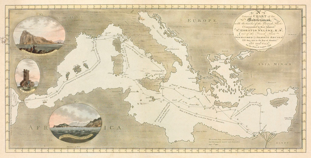Detail of General Chart of the Mediterranean by J. White